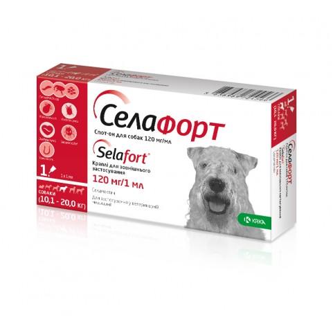 Селафорт 120 мг/1 мл капли от блох и клещей для собак весом 10,1 - 20 кг