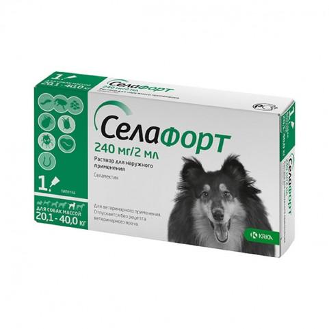Селафорт спот-он, 240 мг/2 мл, для собак весом 20,1 - 40 кг KRKA